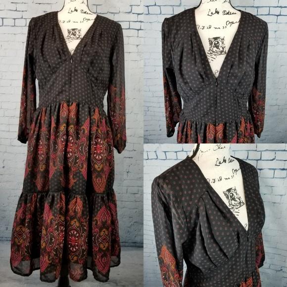 eshakti Dresses & Skirts - Eshakti Paisley Print Tiered Georgette Dress SZ 12